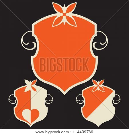 decorative escutcheon, vector design element, stylized coat of arms, heraldic symbols