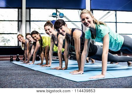 Fit women doing plank exercises at the gym