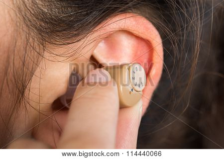 Cropped Image Of Woman Wearing Hearing Aid