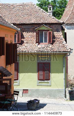 Beautiful colorful houses in Sighisoara Transylvania Romania