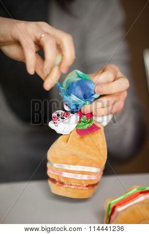 Making rag national doll (motanka). Handmade. Close up