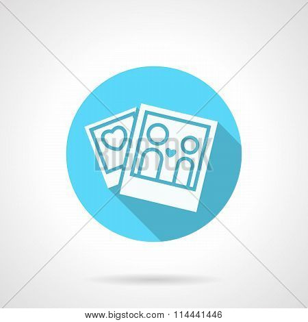 Round blue honeymoon flat vector icon