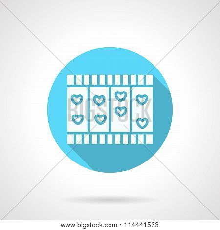 Round blue love story flat vector icon