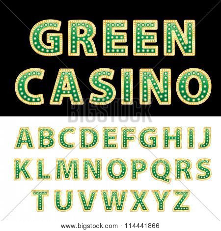 vector green casino and entertainment alphabet
