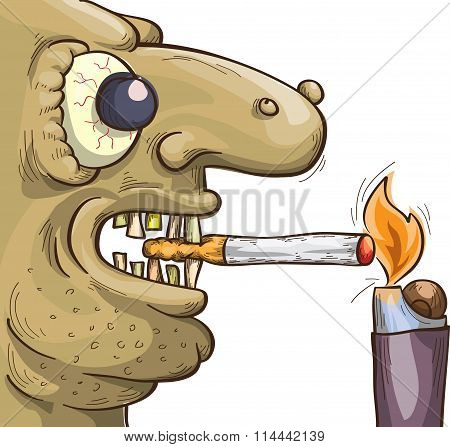Terrible Smoker With Cigarette