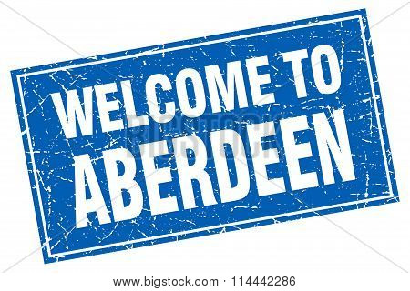 Aberdeen Blue Square Grunge Welcome To Stamp
