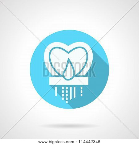 Round blue heart candlestick flat vector icon