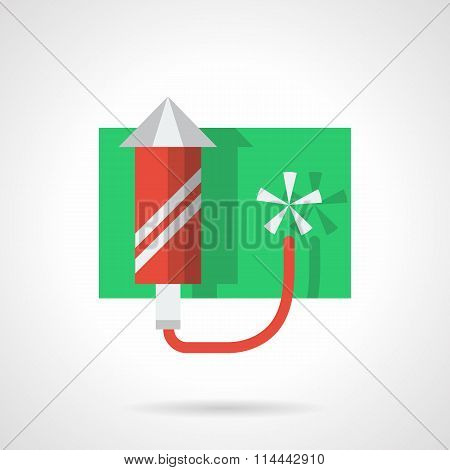 Festive fireworks flat color vector icon