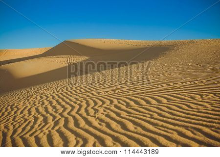 Sand Dunes At Sunset Casting Nice Shadows In Muine, Vietnam