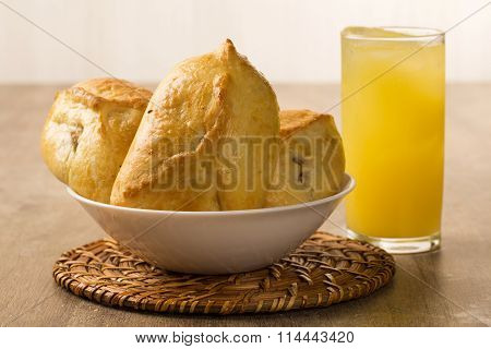 Esfiha Meat On The Table With Soda And Orange Juice