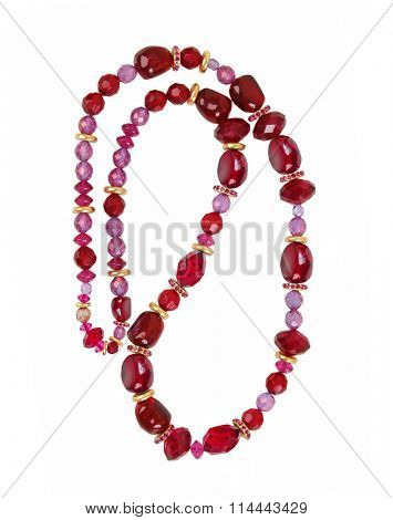 red necklace isolated on white background