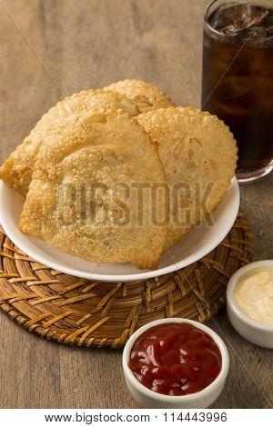 Deep Fried Stuffed Pastry. Brazilian Food Pasteis.