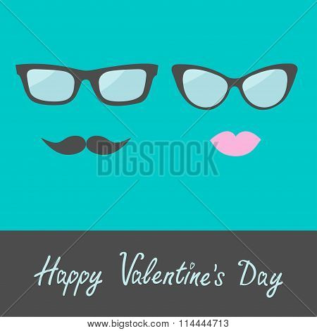 Glasses With Lips And Moustache. Flat Design. Happy Valentines D