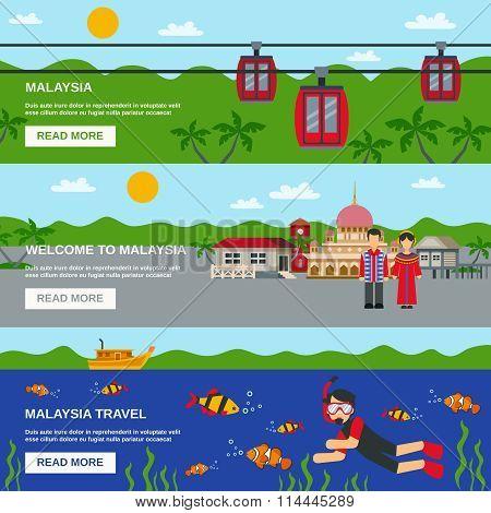 Malaysia Culture 3 Flat Banners Set Design