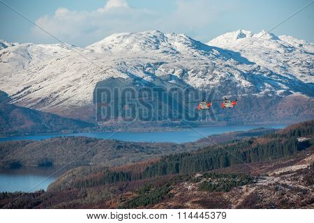 Two Sea Kings Flying Low Over Loch Lomond