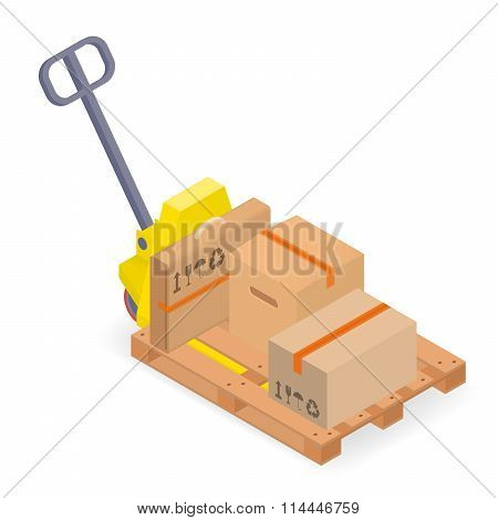 A pallet truck with pallet and cardboard boxes