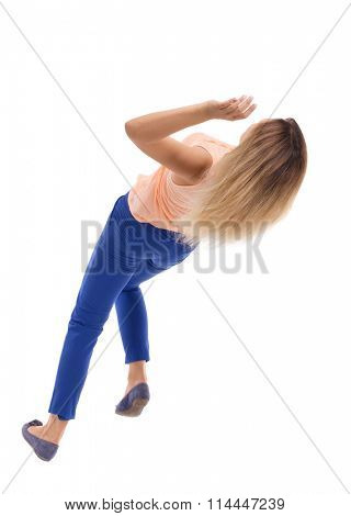 Slipping girl falls. Balancing young woman.  or dodge falling woman. Rear view people collection.  backside view of person.  Isolated over white background.