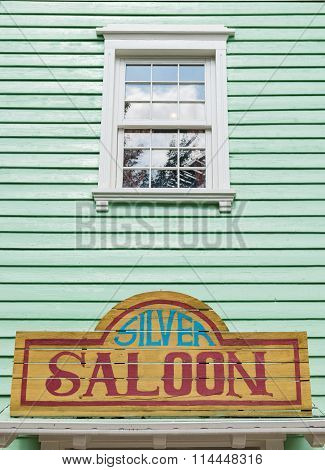 Detail Of The Facade Of A Saloon.