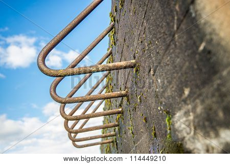 Rusty Bent Iron Bars Of An Old Bunker From Close