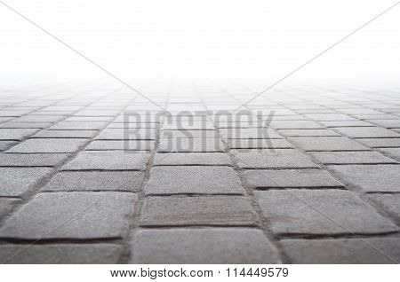 Concrete tile floor and white background