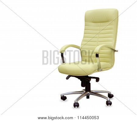 Modern Office Chair From Beige Leather. Isolated