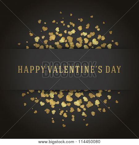Valentine's Day Greeting Card or Poster Gold Hearts Confetti Vector Background