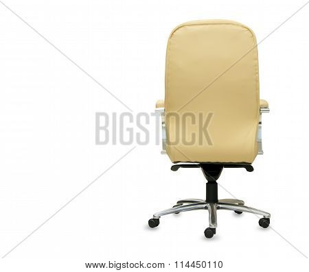 Back View Of Modern Office Chair From Beige Leather. Isolated