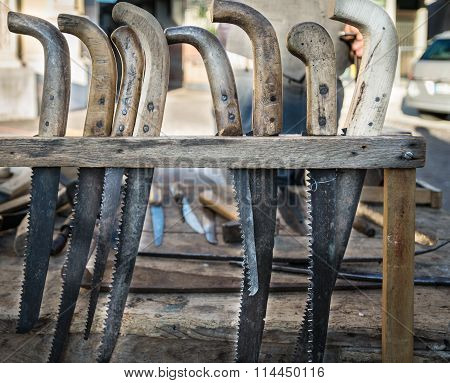 Old Hacksaws Handmade Using The Worn Blades Of Scythes.