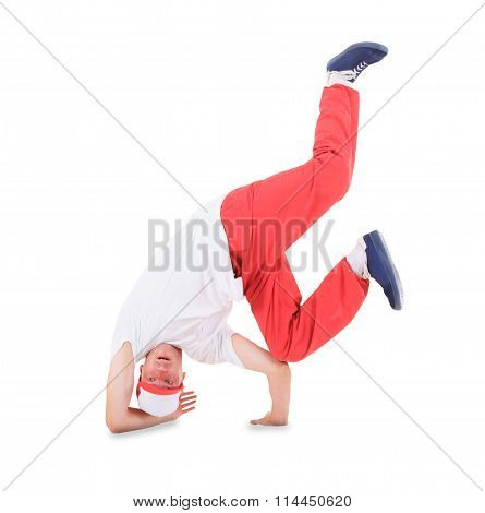 Teenager dancing break dance in action ovcer white