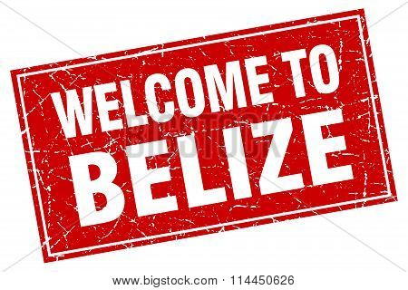 Belize Red Square Grunge Welcome To Stamp