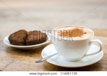 Chocolate Cake In The Shape Of Heart And Coffee