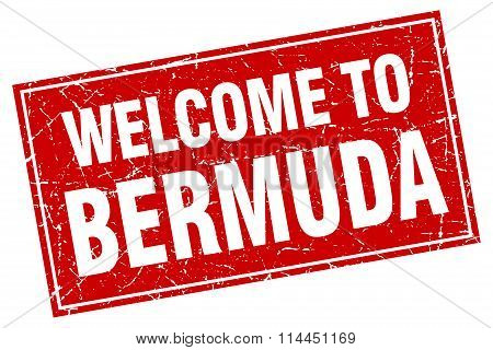 Bermuda Red Square Grunge Welcome To Stamp