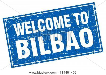 Bilbao Blue Square Grunge Welcome To Stamp