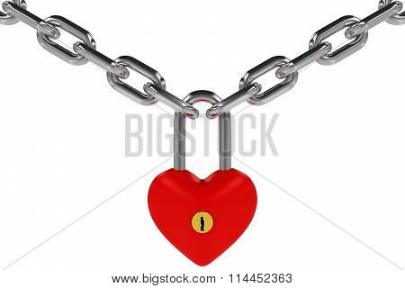 Red Heart Shaped Padlock Hanging From Steel Chains