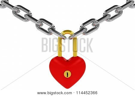 Red And Gold Heart Shaped Padlock Hanging From Steel Chains