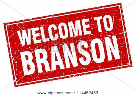 Branson Red Square Grunge Welcome To Stamp