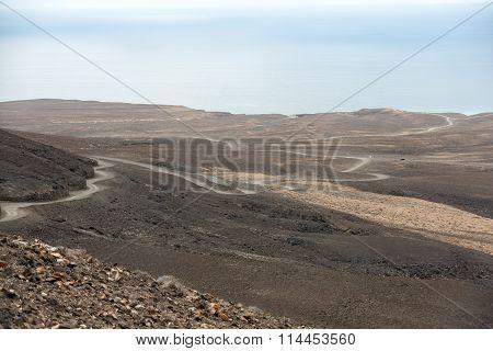 A raod to Playa de Cofete Fuerteventura Canary Islands Spain
