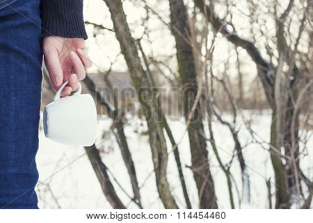 Girl Holding A Coffee Mug.