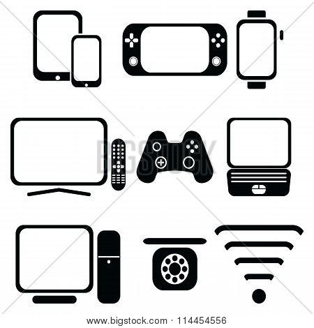 Technology icons set with tablet, mobile phone, smart watch , game console, smart tv, players joysti