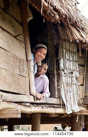 Vietnamese women in farmhouse
