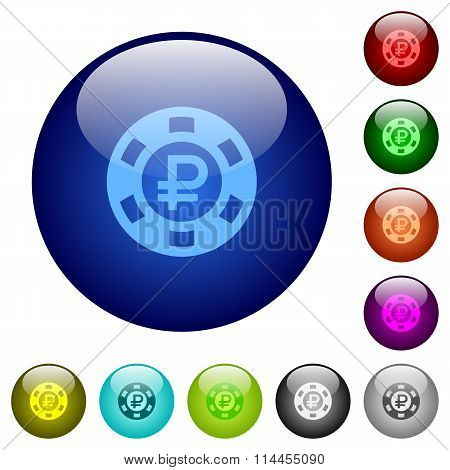 Color Ruble Casino Chip Glass Buttons