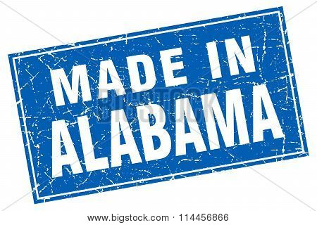Alabama Blue Square Grunge Made In Stamp