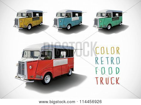 Set Of Color Food Trucks, Isolated