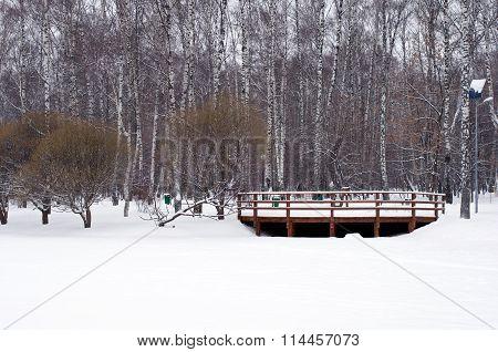 Wooden Railings In Winter