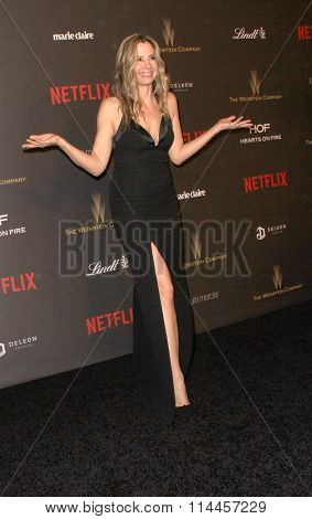 BEVERLY HILLS, CA - JAN. 10: Mira Sorvino arrives at the Weinstein Company and Netflix 2016 Golden Globes After Party on Sunday, January 10, 2016 at the Beverly Hilton Hotel in Beverly Hills, CA.