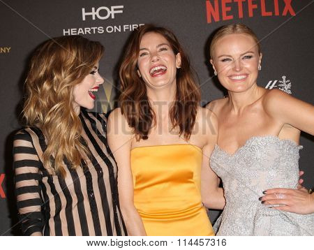 BEVERLY HILLS, CA - JAN. 10: Jamie King, Michelle Monaghan & Malin Akerman arrive at the Weinstein Company 2016 Golden Globes After Party, Jan.10, 2016 at the Beverly Hilton Hotel, Beverly Hills, CA.