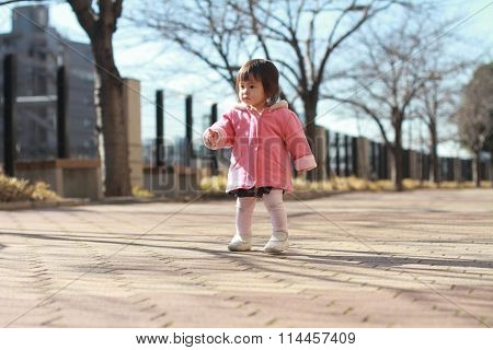 Japanese toddling baby girl (1 year old)