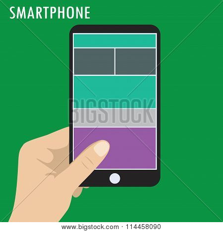 Hand Holding Smart Phone,  Flat