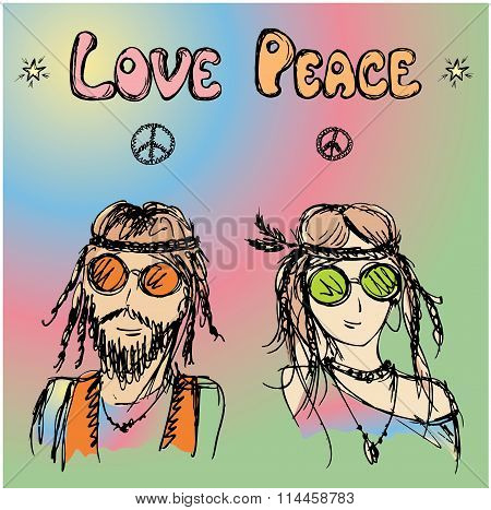 Friendly Couple  Hippie With Long Hair
