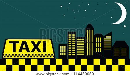 Black Card With Taxi And Night City Skyscrapers